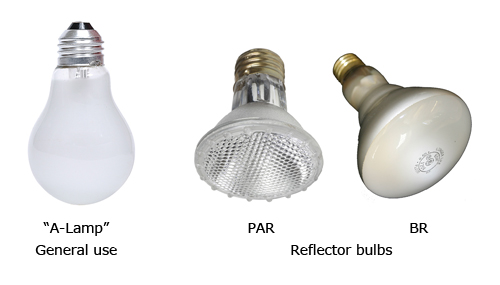 Type A Light Bulbs: General use A-Lamp, and PAR and BR reflector bulbs,Lighting