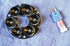A six-LED array with a Type T thermocouple soldered to the LED pin to measure board temperature.