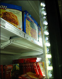 LED lighting system inside freezer