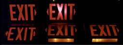 Pictures of different types of exit signs