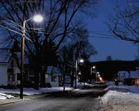 Prototype fluorescent streetlights installed along Clark Street in Easthampton, Massachusetts