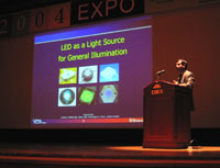 Photo: LRC's Dr. Narendran speaks at LED Expo 2004.