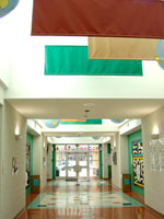 Photo: A daylit hallway at Smith Middle School in Chapel Hill, N.C.