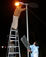 Researchers set up street lighting for mesopic lighting field study