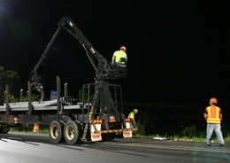 Road crews working at night need to be alert when most people are sleeping.