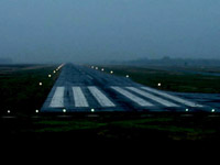 Airport runway with lights