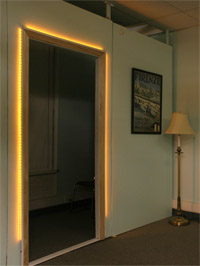 LEDs give horizontal and vertical cues around the doorway.