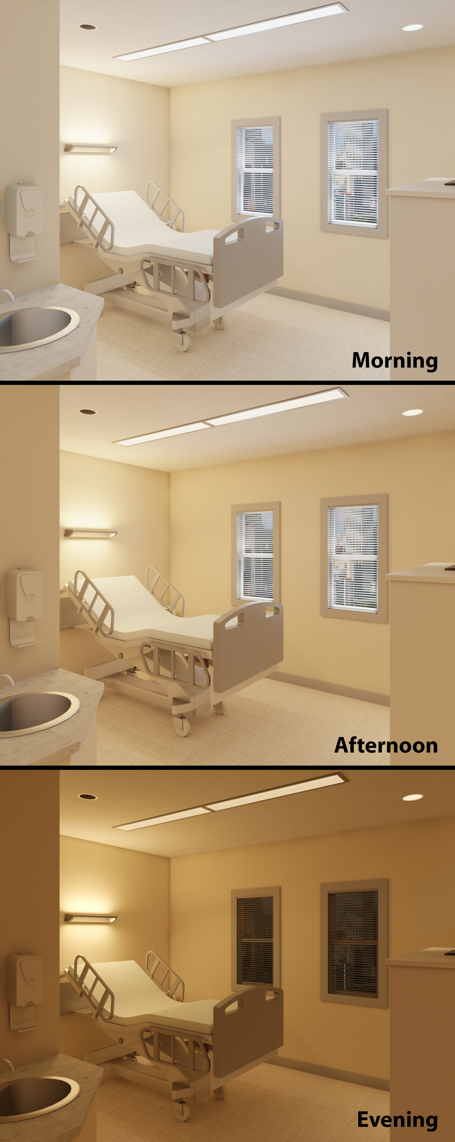 Patient room: morning, afternoon, evening